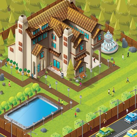 Taxis : Isometric of mansion building