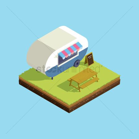 Awning : Isometric of mobile food cafe