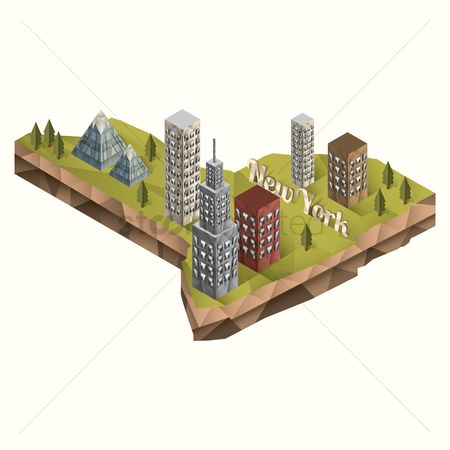 New york : Isometric of new york state
