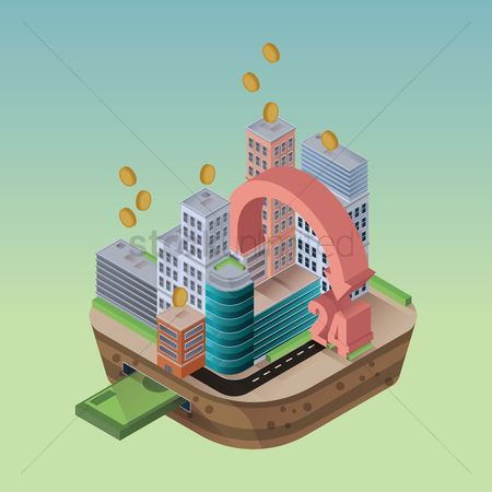 Coins : Isometric of stock market