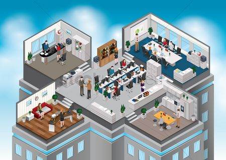 Buildings : Isometric office with people