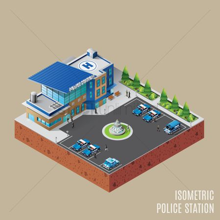 3d : Isometric police station