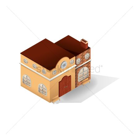 Chimneys : Isometric restaurant building