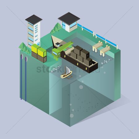 Container : Isometric seaport