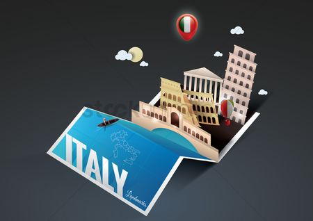 Map pointer : Italy landmarks