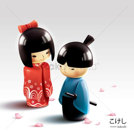 Dolls : Japanese wooden dolls