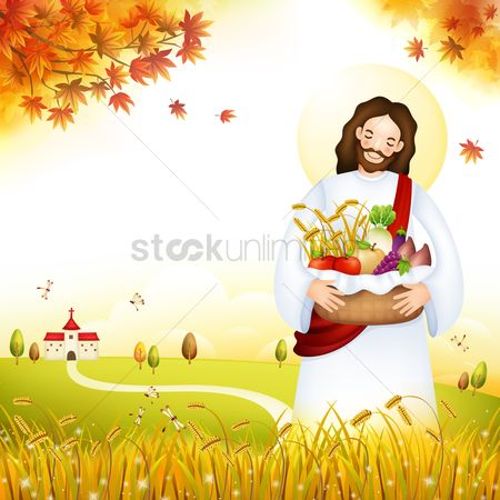 Grapes : Jesus carrying a basket of harvest