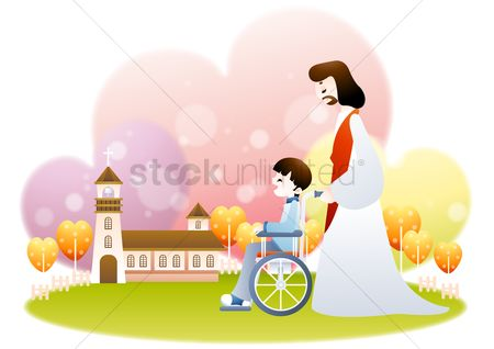 Wheelchair : Jesus pushing boy on a wheelchair