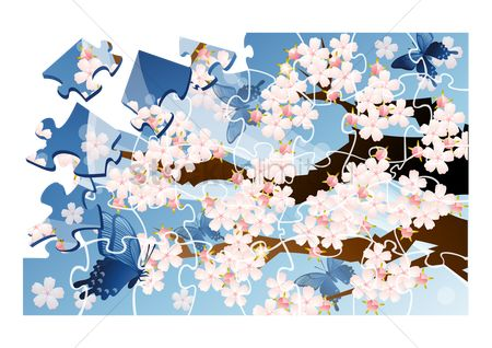 Jigsaw : Jigsaw puzzle with cherry blossom tree
