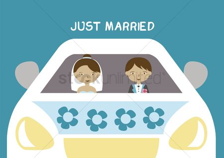 Wedding car : Just married couple in car