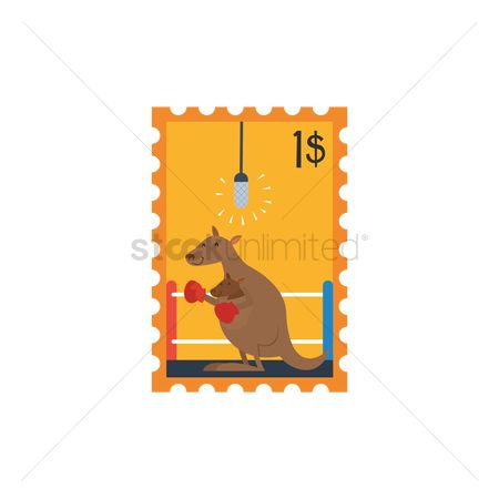 Boxing glove : Kangaroo in boxing gloves stamp