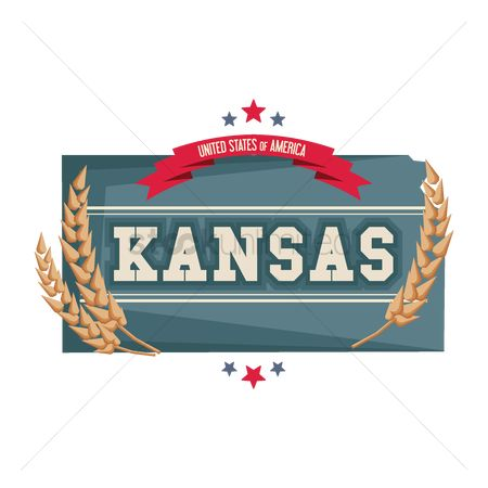 Kansas : Kansas map with wheat strands