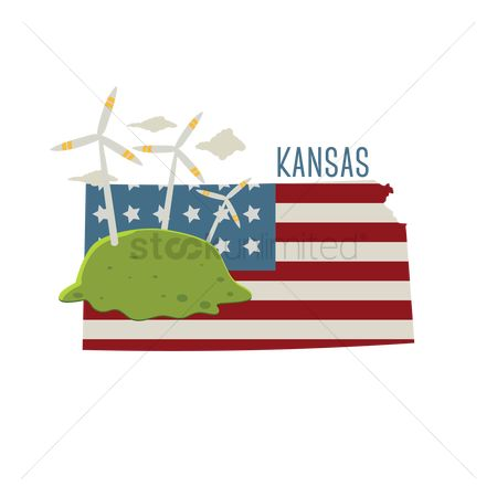Kansas : Kansas state map with wind turbines