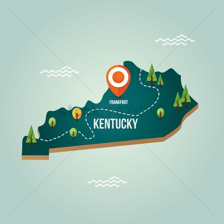 Capitals : Kentucky map with capital city