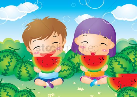 Boys : Kids enjoying watermelon