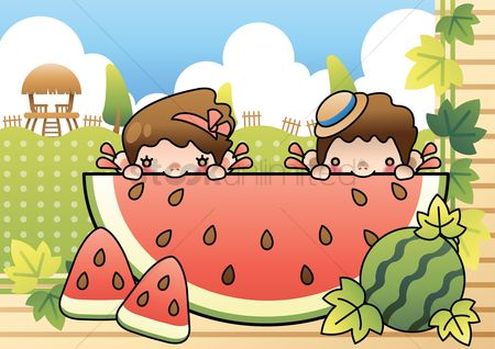 Eat : Kids having giant watermelon