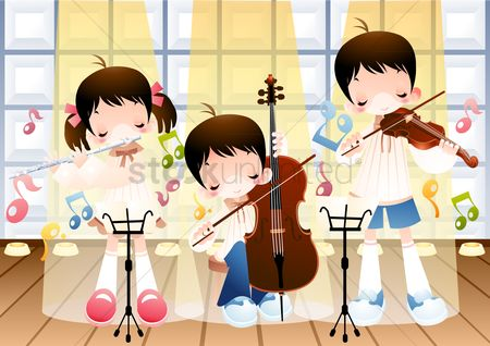Musical instruments : Kids playing guitar