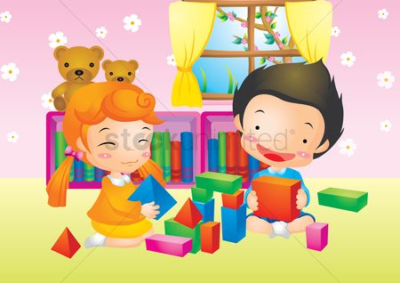 Kids : Kids playing with building blocks