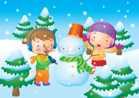 Kids : Kids playing with snowman