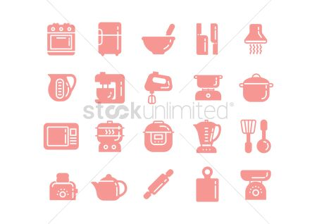 Pitcher : Kitchen appliance icons set