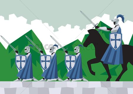Soldiers : Knights marching forward with their commander