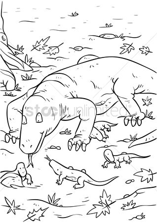 Mountains : Komodo dragon with hatchlings