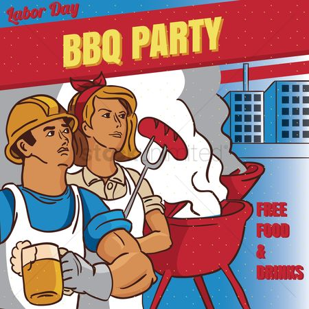 Sausage : Labor day bbq party poster