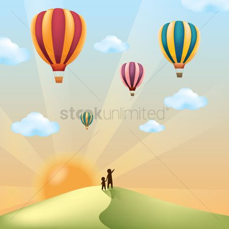Kids : Landscape with hot air balloons