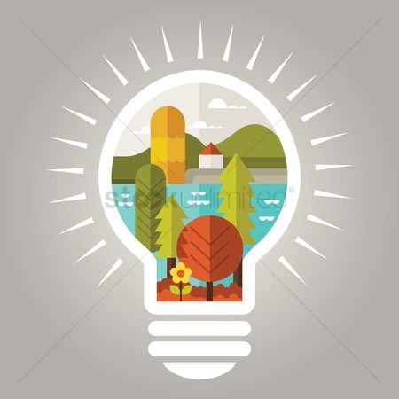 Smart : Lightbulb concept - sustainable living
