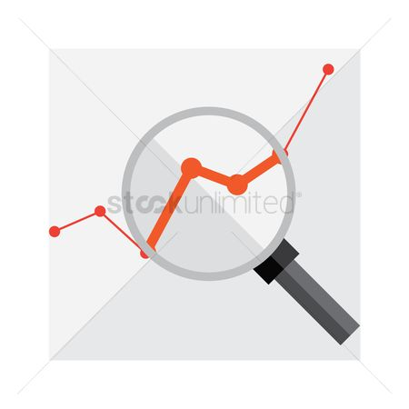 Increase : Line graph with magnifying glass