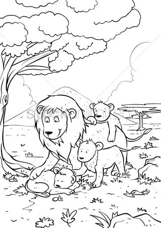 Colorings : Lion with cub