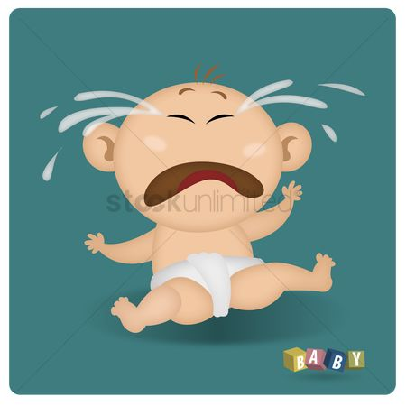Annoy : Little baby in white diapers crying