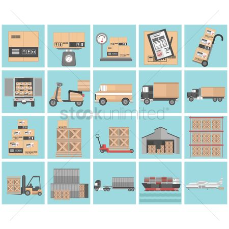 Airplane : Logistic icon set