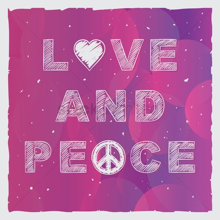 Heart shape : Love and peace typography design