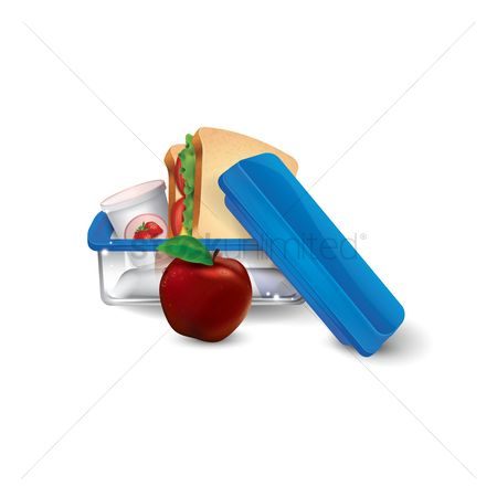Container : Lunchbox with sandwich and apple