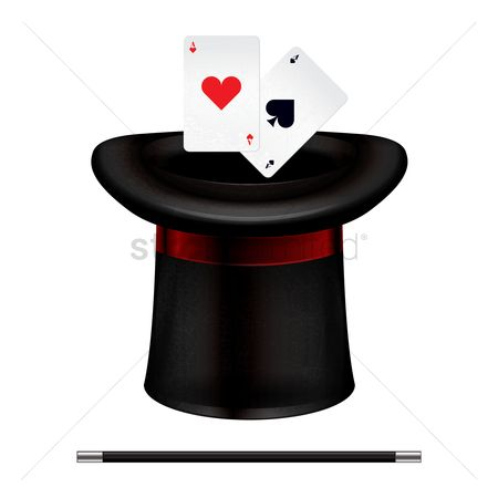 Casinos : Magician hat stick and cards