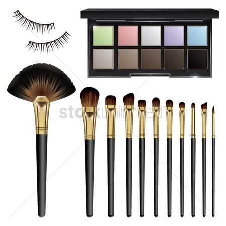 Palette : Make up brushes with eye shadows palette