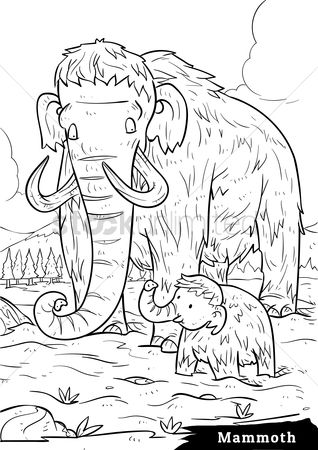 Grass : Mammoth with calf