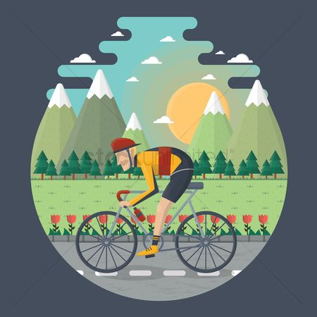 Mountains : Man cycling on the road