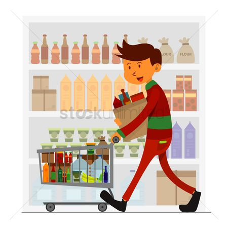 Trolley : Man doing grocery shopping