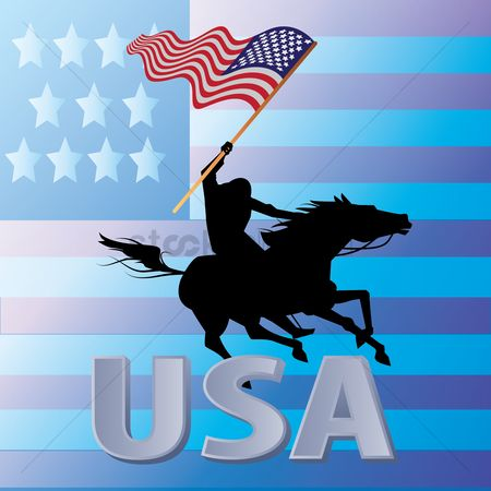 Cowboys : Man riding mustang horse carrying the american flag