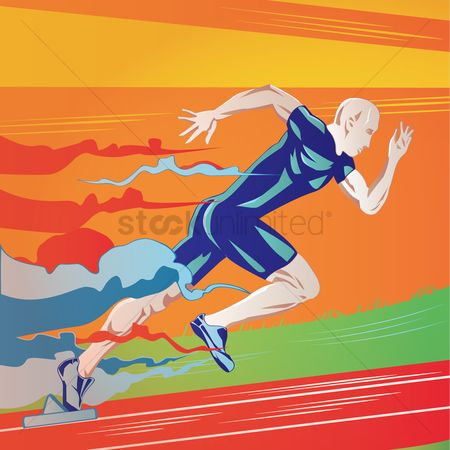 Athletes : Man running on running track