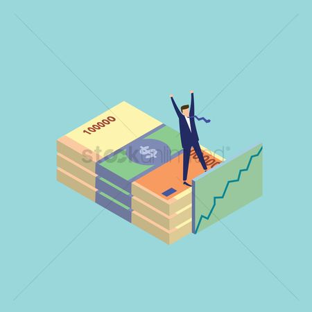 Profits : Man standing on a stack of money
