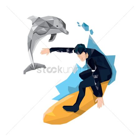 Dolphins : Man surfing