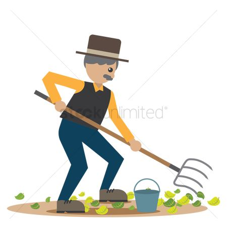 Agriculture : Man using a pitch fork