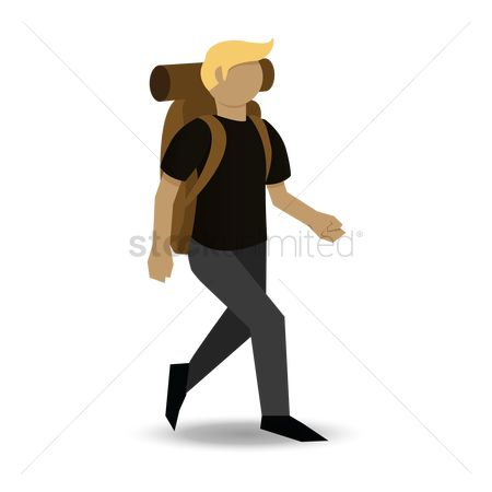 Recreation : Man wearing backpack