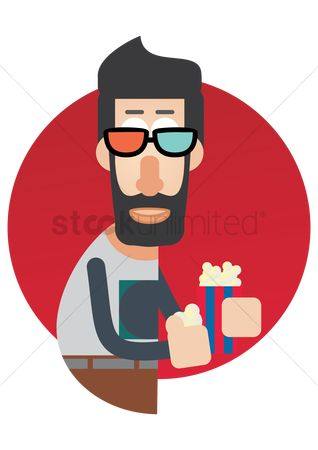 Popcorns : Man with 3d glasses and popcorn