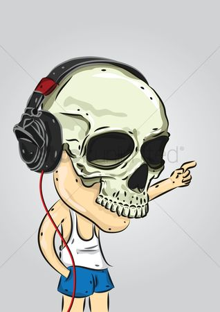 Dj : Man with a skull mask with headphones on