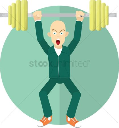 Strength exercise : Man with barbells