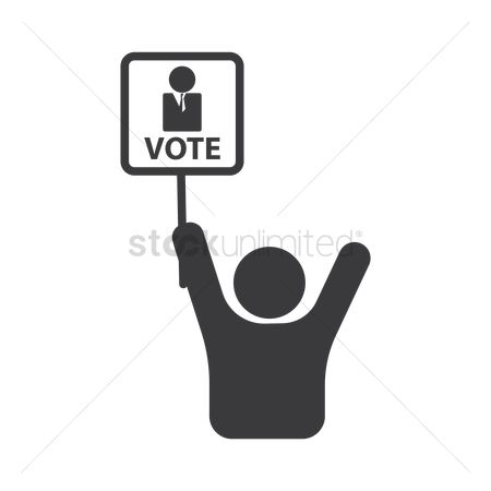 Votes : Man with vote signboard